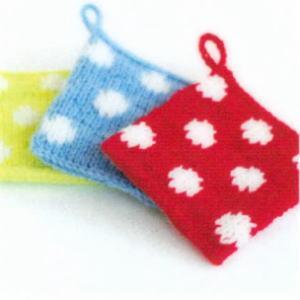 カフェキッチンで編む使いやすいスクエアタワシ 水玉模様エコたわし 手編みキット ダルマ 横田毛糸 編み図|teamiohenya
