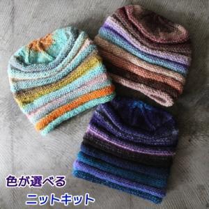 ●編み針セット●野呂英作のくれよんで編むしましまの帽子 手編みキット ニット帽 編み図 teamiohenya