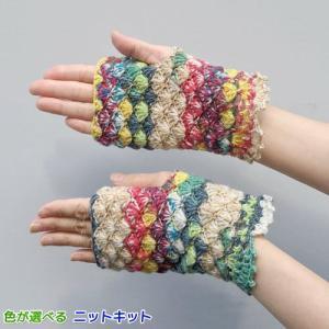 ●編み針セット● オパール毛糸で編むかぎ針編みのエレガントな指なし手袋 手編みキット リストウォーマー Opal毛糸 編み図 teamiohenya
