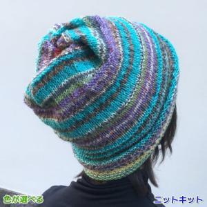 ●編み針セット● オパールで編む2色使いのねじり帽子&スヌード 手編みキット ネックウォーマー 人気キット 編み図 teamiohenya