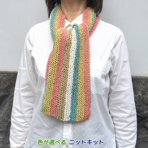 ●編み針セット●キャロンコットンケークスで編む1玉で完成のガーター編みショール 手編みキット 編み図...