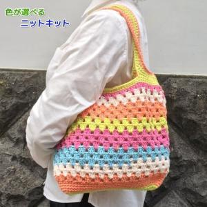 ●編み針セット●キャロンコットンケークスで編むかぎ針編みバッグ 手編みキット 編み図