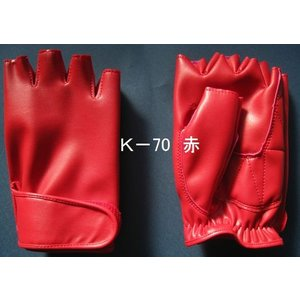 ドライブ用メンズ手袋 指切 人工皮革 赤|tebukuro
