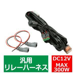リレーハーネス DTコネクター 12V 300W フォグランプ/作業灯/投光器 スイッチ付 汎用 2出力 IZ442|tech