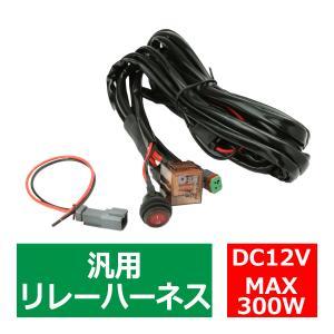 リレーハーネス DTコネクター 12V 300W フォグランプ/作業灯/投光器 防水スイッチ付 汎用 1出力 IZ444|tech