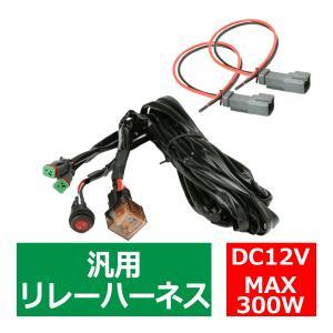 リレーハーネス DTコネクター 12V 300W フォグランプ/作業灯/投光器 防水スイッチ付 汎用 2出力 IZ445|tech