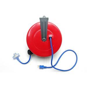 電源 コードリール 9m 吊り下げ式 自動巻取り( ドラム/タップ) N7223|technical-inc