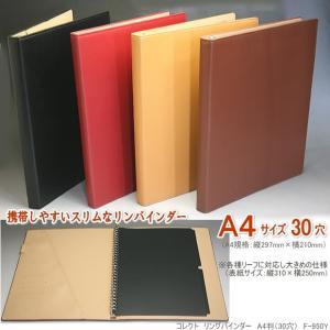 バインダーファイル A4 30穴 合成皮革製 黒 ベージュ 茶 赤|techouichiba
