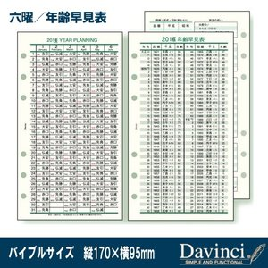 システム手帳 リフィル 2019年六曜/年齢早見表 バイブルサイズ ダ・ヴィンチ DR1928|techouichiba