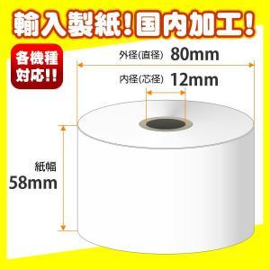 【輸入製紙】ノーマル保存サーマルレジロール 58×80×12 大箱(80巻入)|tecline