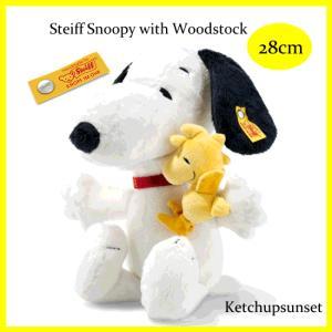 テディベア  シュタイフ ドイツ限定 スヌーピー&ウッドストック 28cm ソフト テディベア Steiff Snoopy & Woodstock|teddy