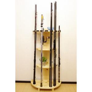 【極太穴・3ピース用】 RS-1 9本収納 ヒノキ無垢材 【家具職人の作ったロッドスタンド】|tedukurikaguueda