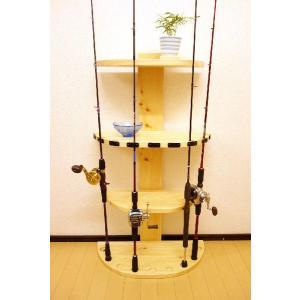 【太穴・2ピース用】 RS-1 9本収納  ヒノキ無垢材 【家具職人の作ったロッドスタンド】|tedukurikaguueda