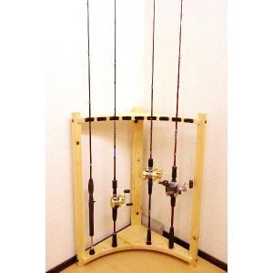 【太穴・2ピース用】 RS-3 9本収納  ヒノキ無垢材 【家具職人の作ったロッドスタンド】|tedukurikaguueda