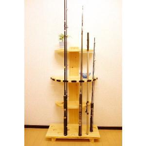 【太穴・2ピース用】 RS-6 9本収納  ヒノキ無垢材 【家具職人の作ったロッドスタンド】|tedukurikaguueda