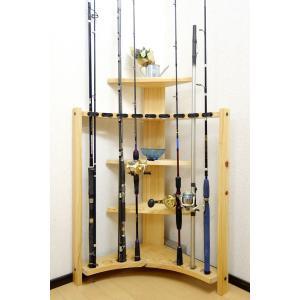 【極太穴・3ピース用】 RS-4 9本収納  ヒノキ無垢材 【家具職人の作ったロッドスタンド】|tedukurikaguueda