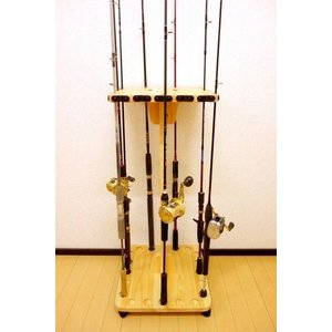 【太穴・2ピース用】 RS-21 20本用 ヒノキ無垢材 【家具職人の作ったロッドスタンド】|tedukurikaguueda