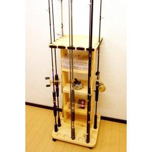 【太穴・2ピース用】 RS-22 15本用 ヒノキ無垢材 【家具職人の作ったロッドスタンド】|tedukurikaguueda