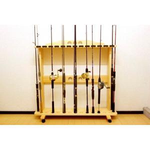 【太穴・2ピース用】 RS-24 17本用 ヒノキ無垢材 【家具職人の作ったロッドスタンド】|tedukurikaguueda