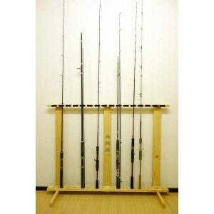 【標準・1ピース用】 RS-25L 16本用 ヒノキ無垢材 【家具職人の作ったロッドスタンド】|tedukurikaguueda