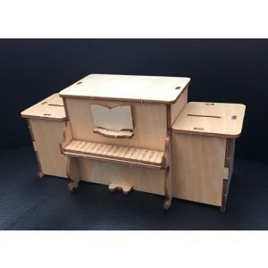 木で作るオルゴール貯金箱工作キット ピアノ 50個セット|tedukurishop
