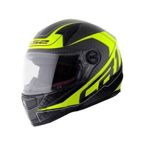 【LS2】 ディアブロ (DIABLO) イエロー カーボン フルフェイスヘルメット UVカットシールド・バイザー標準装備 【SG規格取得・MFJ公認】|teito-shopping