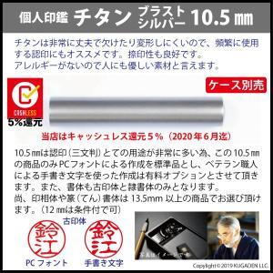 個人印鑑 チタン・ブラスト シルバー10.5mm(認印用) tekakiya