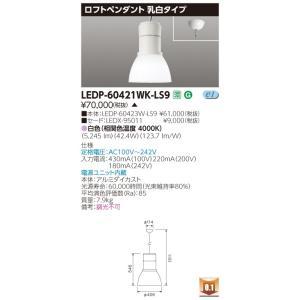 東芝 LEDP-60421WK-LS9 (LEDP60421WKLS9) ロフトペンダント6000乳白 LED器具|tekarimasenka