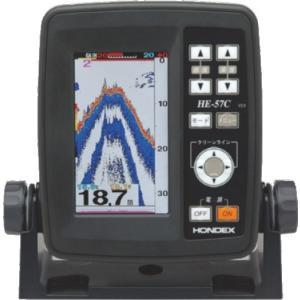 メーカー在庫限り ホンデックス (HONDEX) ポータブル魚探 HE-57C 振動子TD03付属 高輝度4.3型ワイド液晶搭載 乾電池使用可能|telj