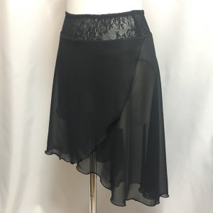 バレエレッスン用ロング丈シフォンスカートです ウエストはストレッチレースでおしゃれに着こなせます。 ...