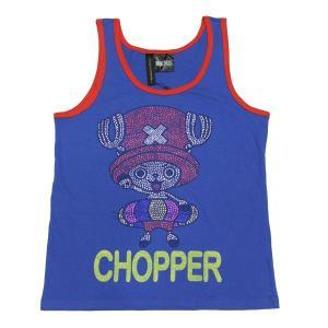 ワンピース Tシャツ チョッパー ラインストーン タンクトップ ブルー OUTLET|ten-ten-store