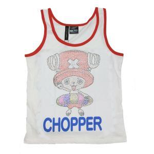 ワンピース Tシャツ チョッパー ラインストーン タンクトップ ホワイト OUTLET|ten-ten-store