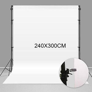 Negeek 240X300cm耐久性のあるポリエステル生地ホワイトポートレートモスリン写真撮影の背景写真スタジオブースの小道具 (2.4x3m) tenbin-do