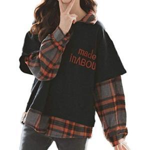 [ルル フェルテ] 子供服 女の子 重ね着風 長袖 レイヤード チェック シャツ カットソー トップス 130  150 (ブラック 130) tenbin-do