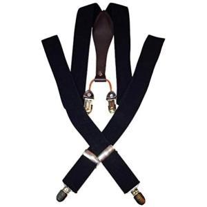 [ルビタス] メンズ サスペンダー Y型 フォーマル 吊り バンド 幅広 ズボンベルト (ブラック)
