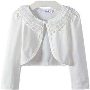 キッズ ボレロ 長袖 フォーマル 女の子ポンチョ 薄手 発表会 入園式 結婚式 (ホワイト 120)|tenbin-do