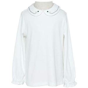 Mon Ange トップス 長袖 女の子 シャツ 丸襟 ブラウス 刺繍 綿100% お出かけ フォーマル 入園式 (四つ葉のクローバー 100) tenbin-do
