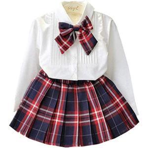 YRINA 女の子 スカート ブラウス フォーマル 白 シャツ 子供服 入園式 入学式 卒園式 発表会 リボン (白 赤 青 130) tenbin-do