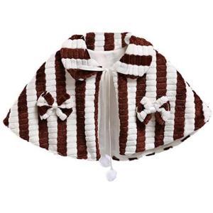 ファンタストコスチューム 子供ケープ ボレロ ポンチョ カーディガン 子供ドレス リボン飾り フォーマル 結婚式(コーヒー Free Size)|tenbin-do