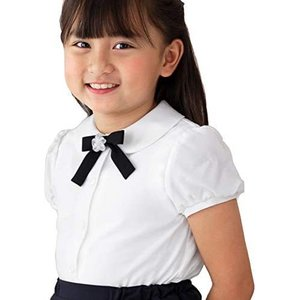 [CHOPIN(ショパン)] 子供 喪服 女の子 フォーマル 8833-2301 リボン付き丸襟ブラウス 半袖/キッズ (ホワイト 130) tenbin-do