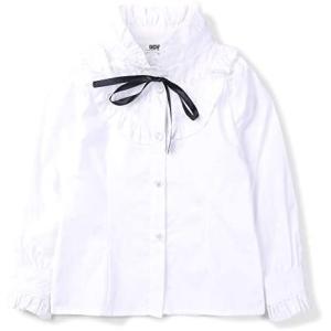 ボタンシャツ ガールズ ワイシャツ 半袖 長袖 女の子 Tシャツ 女児 トップス 無地 ブラウス 可愛い ガールズ 通園 (ホワイト 150) tenbin-do