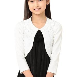 Mitene ボレロ キッズ フォーマル 花柄 レース 襟付き 女の子 結婚式 m665 (ホワイト 110)|tenbin-do