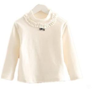 Elfin Parkガールズ 無地 tシャツ ブラウス 長袖 シャツ ブラウス フリル リボン キッズ 女の子 秋 白 (ホワイト 100) tenbin-do