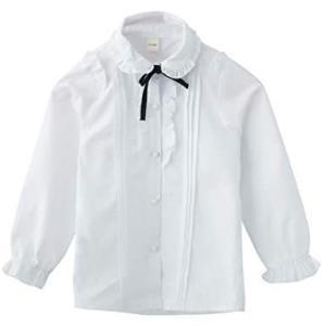 Atexiu子供服 女の子 シャツ 白ブラウス キッズ ワイシャツ リボン付 フリル 長袖 ブラウスフォーマル 発表会 (ホワイト 150) tenbin-do
