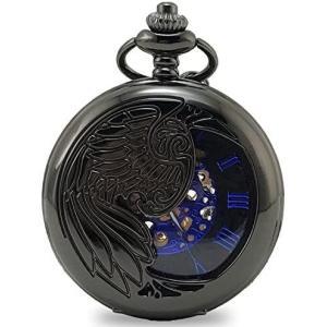 <モノジー> MONOZY 機械式 手巻き 懐中時計 両面 スケルトン アンティーク 風 ローマ数字 pwbl-a (ブラック)|tenbin-do