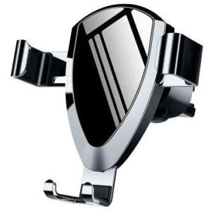 車載ホルダー スマホホルダー 車 携帯ホルダー エアコン吹き出し口用 重力式自動開閉 クリップ式 厚いケース対応 (ガンカラー)|tenbin-do