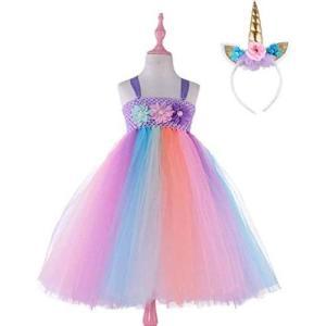 <mon luxe> ハロウィン 子供 ユニコーン 衣装 ドレス ワンピース コスプレ 衣装 つの コスチューム 仮装 パーティー (90)|tenbin-do