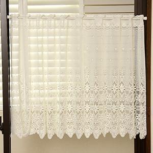 花柄レースカフェカーテン3532オフホワイト LS 幅150cm×丈30cm・丈50cm・丈75cm...