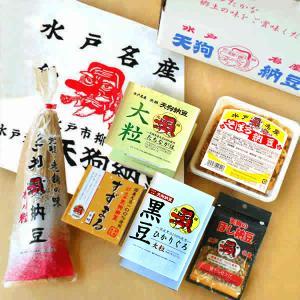 「てぬぐいセット」4種類の納豆(極小粒、小粒、大粒、黒豆)、そぼろ納豆、ほし納豆、天狗納豆の復刻版て...