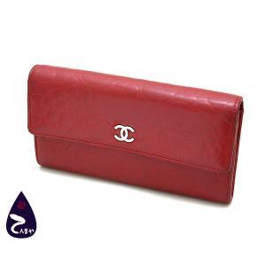 シャネル ラムスキン:レッド カメリア 二つ折り長財布 (型番:A50084)|tenmaya78